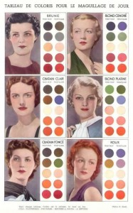Pic: 1930s French make-up colour chart.